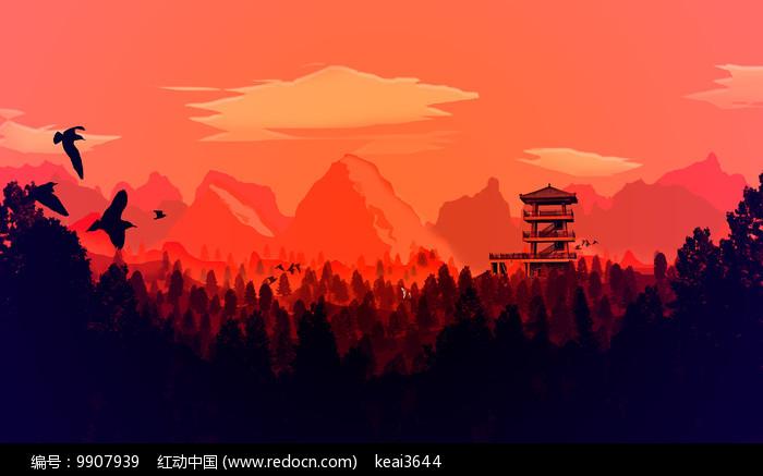 晚霞森林插画PSD图片