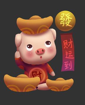 猪年卡通猪手绘形象 PSD