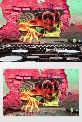 3D复古怀旧墙砖骷颅背景墙