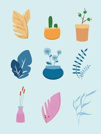 小清新唯美植物AI矢量插画