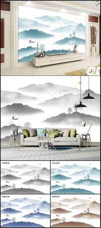 中国水墨山水画背景墙