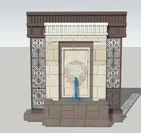 浮雕水景景墙SU