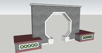 拱门形中式景墙SU模型