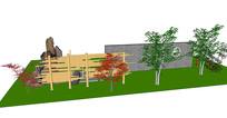 公园景墙SU模型