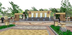 广场喷泉场景SU模型