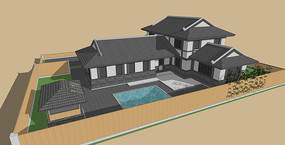 徽派风中式建筑SU模型