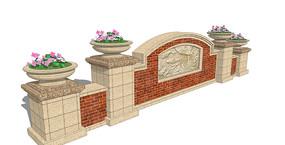 欧式花卉雕花景墙SU模型
