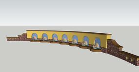 七只孔雀雕塑欧式景墙SU模型