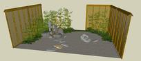 日式小庭院紫藤景墙SU模型