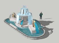 入口精美造型雕塑水景