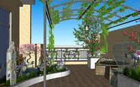 庭院阳台,瓦缸,花架全模