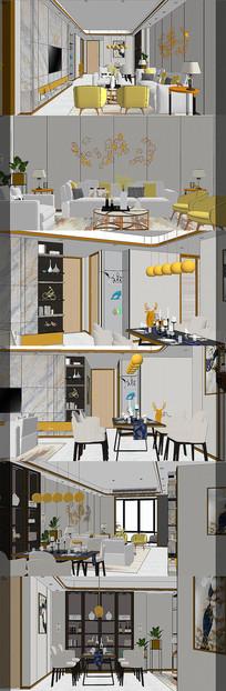 现代客餐厅室内设计SU模型