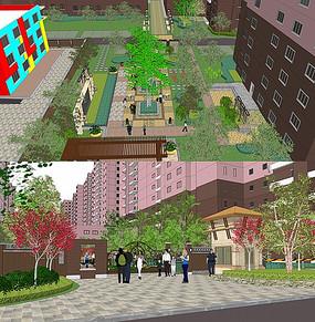 小区花园景观SU模型