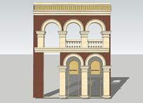 圆拱门建筑造型装饰SU