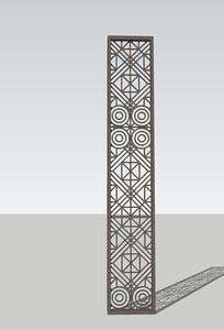 中式屏风雕花木版skp