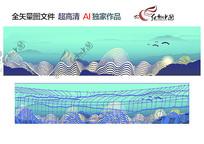 高端中国风背景墙装饰画模板