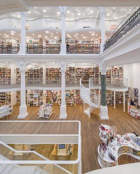 欧式白色柱子书店室内意向图