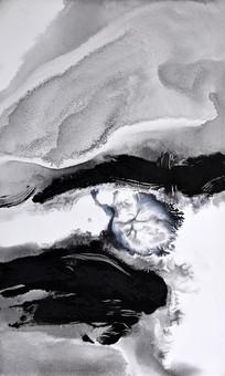 手绘抽象艺术黑白抽象画