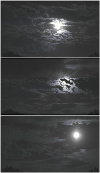 乌云蔽月夜晚云朵遮住月亮视频