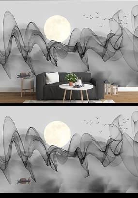 现代简约水墨山水画沙发背景墙