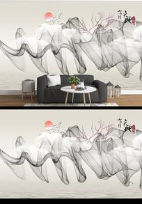 现代简约水墨山水沙发背景墙