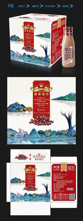 中国风红豆汁饮品包装设计