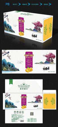 中国风芒果饮品包装箱长稿