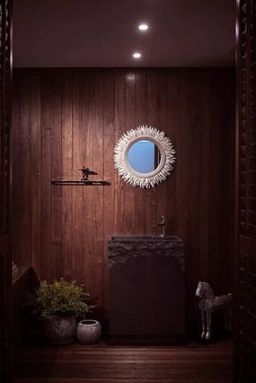 创意木头元素室内洗手台意向