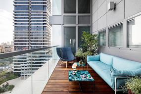 蓝色元素室内阳台意向