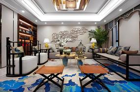 蓝色元素中式样板间客厅意向