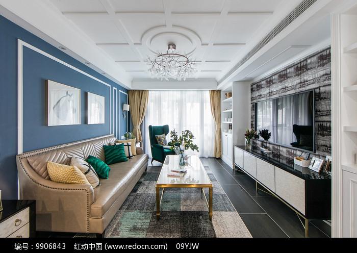 美式轻奢住宅客厅意向图片