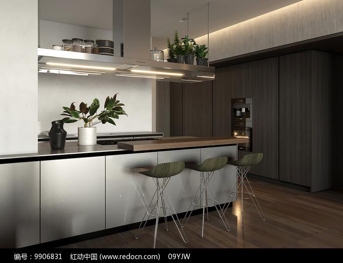 轻奢现代住宅设计餐桌意向图片