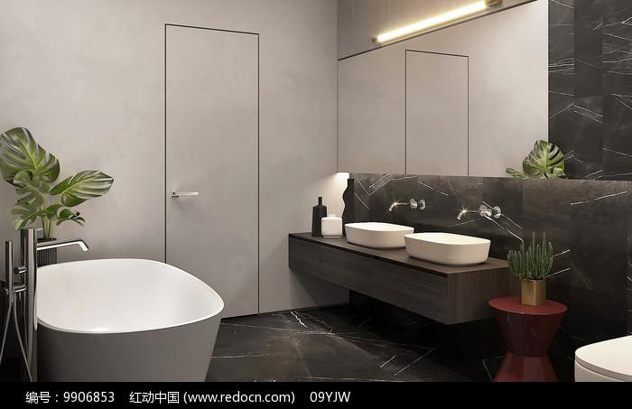 轻奢现代住宅设计洗手间意向图片