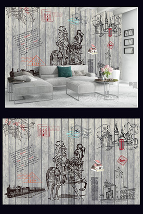 现代时尚简约北欧式电视背景墙