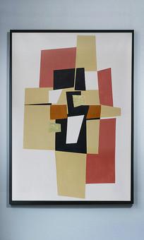 抽象组合色块玄关装饰油画