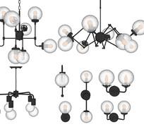 现代玻璃吊灯壁灯组合 skp