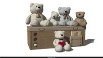 小熊玩具组合模型