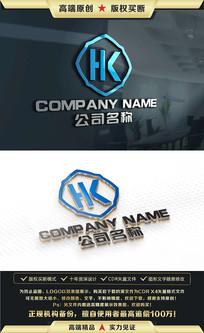 HK字母LOGO设计HK标志
