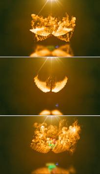 大气燃烧天使之翼标志片头模板