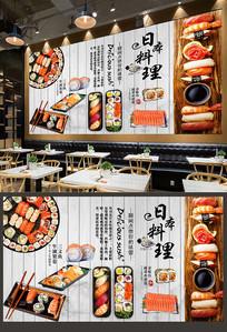 复古木板日本料理背景墙