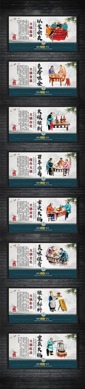 各类火锅美食文化展板设计