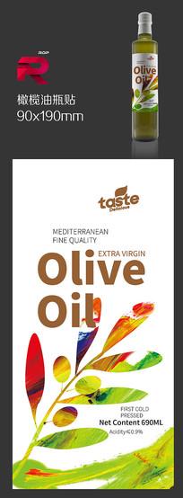 橄榄油瓶贴