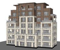 3D多层住宅建筑模型
