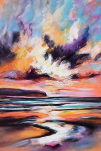 抽象多彩云彩河流无框画