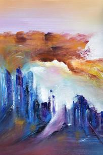 抽象建筑油画无框画