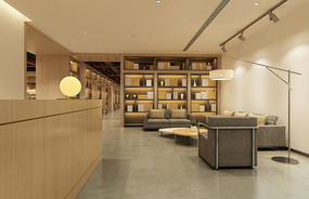 共享办公空间休息区效果图 JPG