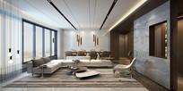古典典雅样板房客厅效果图