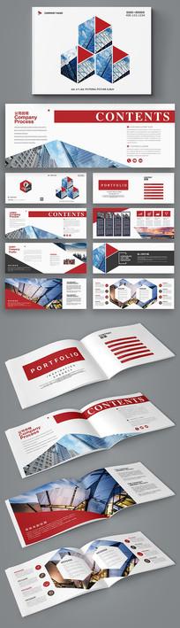 红色几何美式通用企业招商画册