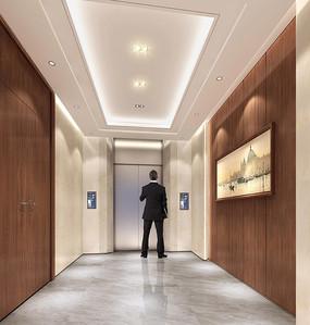 简约大气办公楼VIP电梯厅