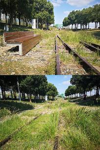 老火车轨道草地座椅景观